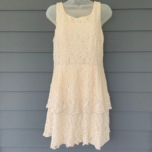 Pinky Ivory Lace Tank Dress Tiered Lined Back Zip